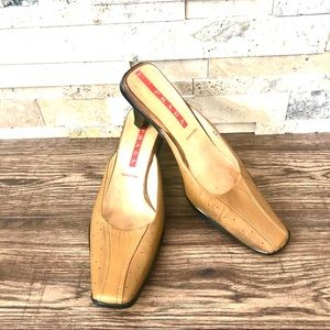 PRADA VTG Tan Leather Low Heel Sport Mules Sandals